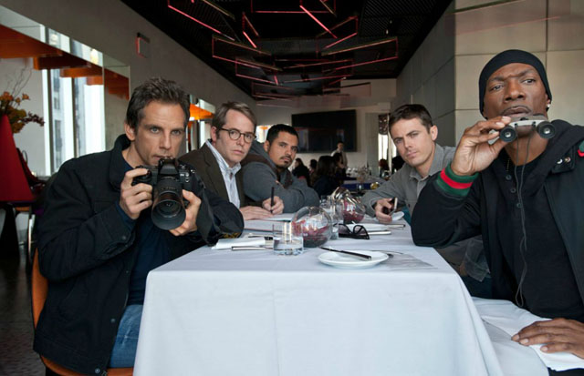 Gang's All Here, L-R: Ben Stiller, Matthew Broderick, Michael Peña, Casey Affleck and Eddie Murphy in 'Tower Heist'