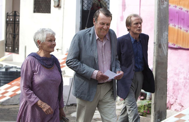 Arrival: Judi Dench (Evelyn), Tom Wilkerson (Graham) and Bill Nighy (Douglas) in 'The Best Exotic Marigold Hotel'