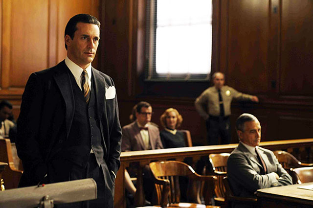 All Our Trials: Jon Hamm as attorney Jake Ehrlich (left) and David Strathaim as Ralph McIntosh in 'Howl'