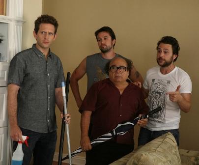L-R: Glenn Howerton as Dennis, Rob McElhenney as Mac, Danny DeVito as Frank and Charlie Day as Charlie airing Thursday, Sep. 17 on FX. CR: Patrick McElhenney / FX .