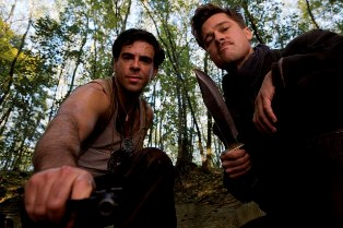 Lt. Aldo Raine (Brad Pitt) and Sgt. Donny Donowitz (Eli Roth) in Quentin Tarantino's Inglourious Basterds.