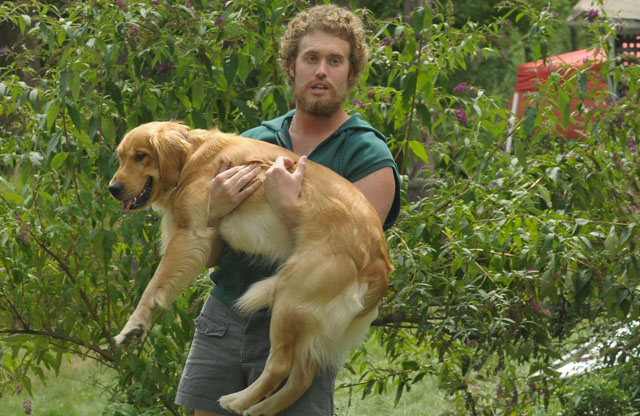T.J. Miller as Billy Carries Willie Nelson the Dog in 'Our Idiot Brother'