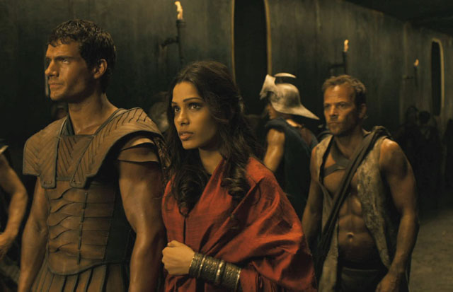 Henry Cavill as Theseus, Freida Pinto as Phaedra and Stephen Dorff as Stavos in 'Immortals'