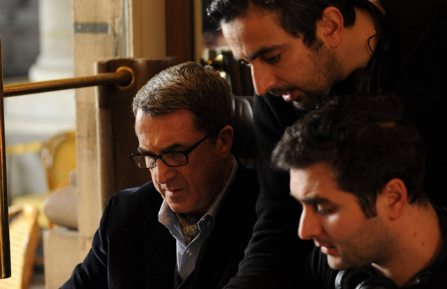 Olivier Nakache (top center) with Francois Cluzet (left) and Co-Director Eric Toledano on the set of 'The Intouchables'