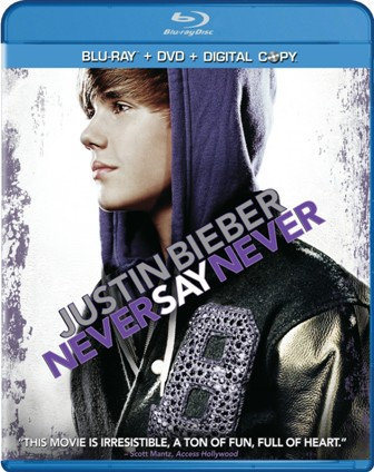 Justin Bieber: Never Say Never was released on Blu-Ray and DVD on May 13, 2011