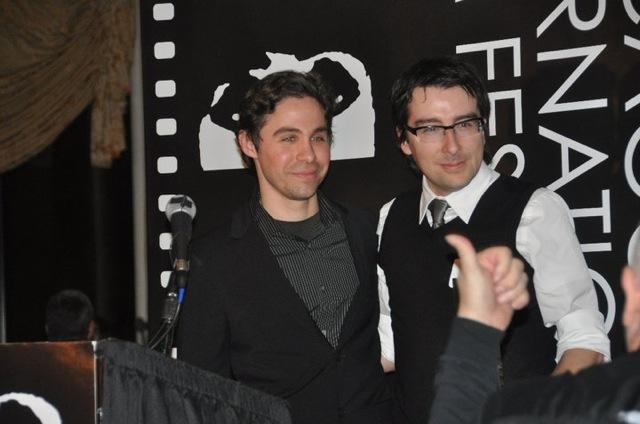 Festival programmer Joel Hoglund and Sean J.S. Jourdan, director of the Silver Hugo winner The Forerunners, at the 2010 Chicago International Film Festival Awards Ceremony.