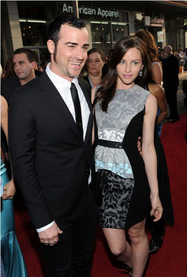 Justin Theroux and Heidi Bivens at the Iron Man 2 Premiere in Hollywood, April 26th