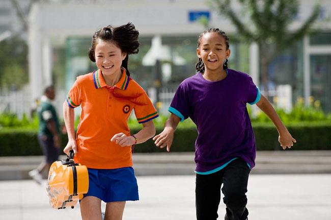Fun in China: Wenwen Han as Meiying and Jaden Smith in 'The Karate Kid'