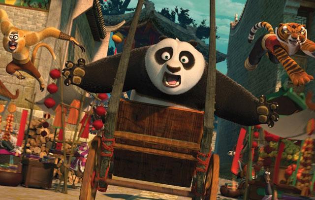 Monkey (voice of Jackie Chan), Po (Jack Black) and Tigress (Angelina Jolie in 'Kung Fu Panda 2'