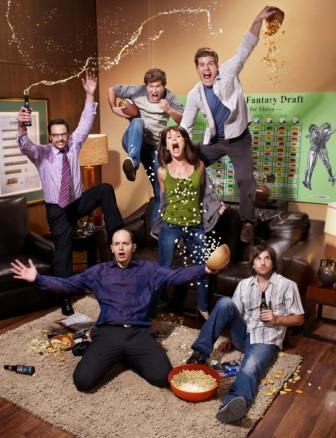 Nick Kroll, Mark Duplass, Stephen Rannazzisi, Katie Aselto, Jon Lajoie and Paul Scheer.