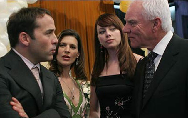 Malcolm McDowell (right) as Terrence McQuewick, with Jeremy Piven, Perrey Reeves and Melinda Clarke from HBO's 'Entourage'