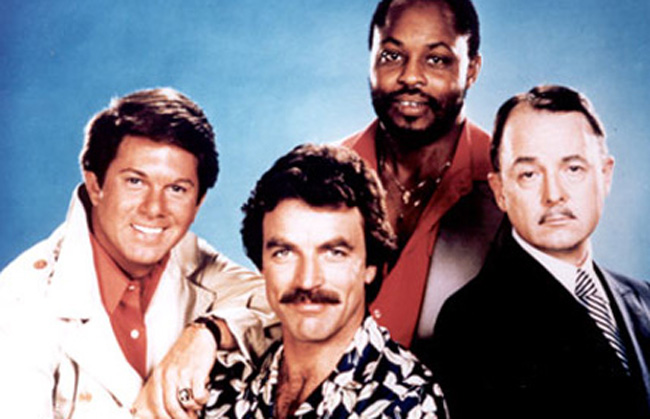 A Cast of Magnum: Larry Manetti, Tom Selleck, Roger E. Mosely and John Hillerman in 'Magnum, P.I.'