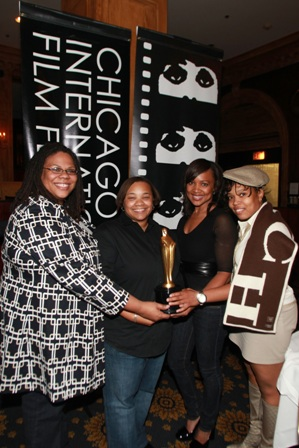 Mississippi Damned filmmakers and cast members celebrate Gold Hugo win at Chicago International Film Festival Awards Ceremony on Saturday October 18th.  Photographed from left to right - Morgan Stiff (producer), Tina Mabry (writer/director), Jossie Thacker (Actress), Chastity Hammitte (actress).