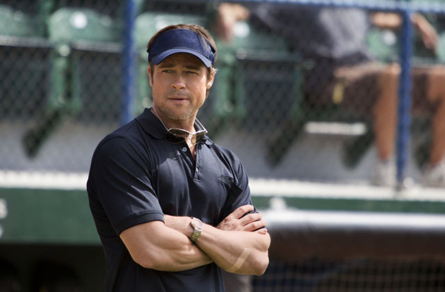 In the Field: Brad Pitt as Billy Beane in 'Moneyball'