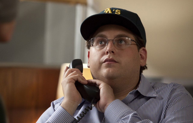 On Call: Jonah Hill as Peter Brand in 'Moneyball'