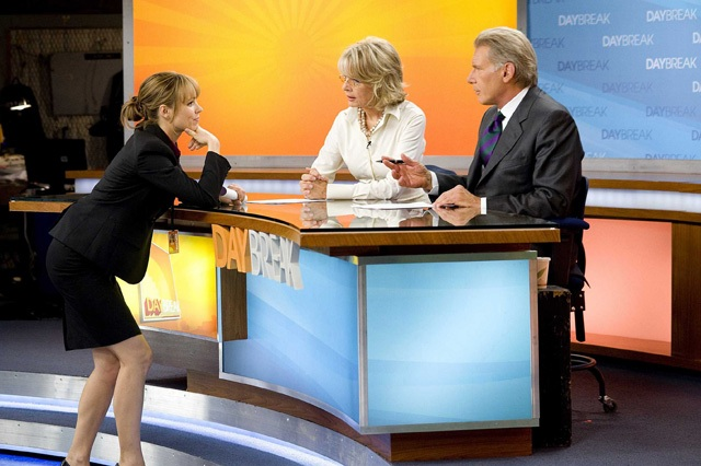 Some Rise: Rachel McAdams as Becky, Diane Keaton as Colleen and Harrison Ford as Mike in 'Morning Glory'