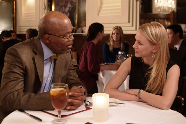 Scene from 'Mother and Child' featuring Samuel L. Jackson as Paul and Naomi Watts as Elizabeth