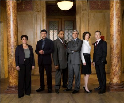 Pictured: (l-r) S. Epatha Merkerson as Lt. Anita Van Buren, Jeremy Sisto as Cyrus Lupo, Anthony Anderson Detective Kevin Bernard, Sam Waterston as Asst. D.A. Jack McCoy, Alana De La Garza as Connie Rubirosa, Linus Roache as Michael Cutter -- NBC Photo: Virginia Sherwood