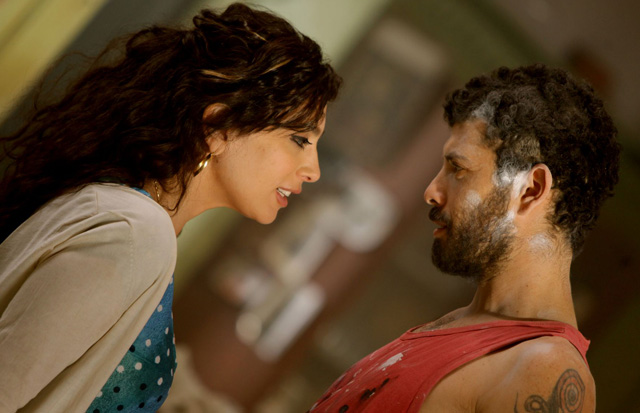Director and Actor: Nadine Labaki (Amale) and Julien Farhat (Rabih) in 'Where Do We Go Now?'
