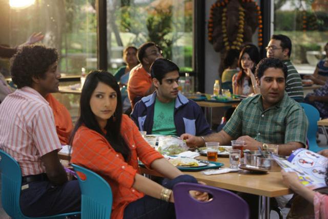 The Call Crew: Rebecca Hazlewood as Asha, Sacha Dhawan as Manmeet, Parvesh Cheena as Gupta in 'Outsourced'