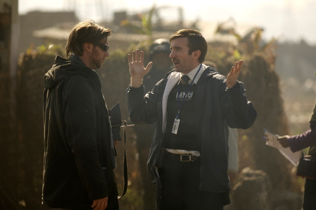 Director Neill Blomkamp and Sharlto Copley on the set of TriStar Pictures' sci-fi thriller DISTRICT 9.