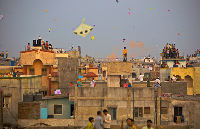 The City of Ahmedabad During the Kite Festival in 'Pantang'