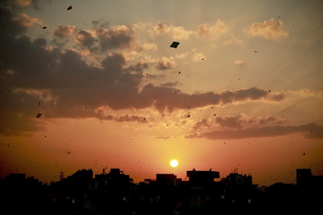 The sky above Ahmedabad is filled with kites in Prashant Bhargava's Patang.