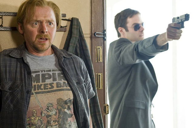 Under the Gun: Simon Pegg and Bill Hader (Haggard) in 'Paul'