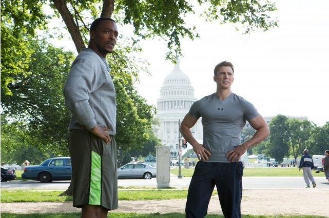 Anthony Mackie and Chris Evans in 'Captain America: The Winter Soldier'