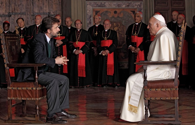 Director Nanni Moretti (the Psychiatrist) Opposite Michel Piccoli (the Pope-Elect) in 'We Have a Pope'