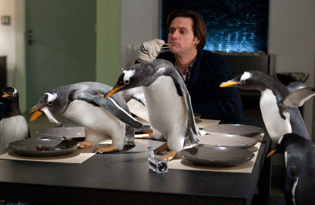 Mr. Popper (Jim Carrey) and Friends in 'Mr. Popper's Penguins'