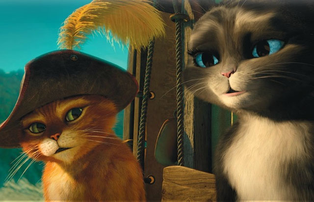Puss (voice of Antonio Banderas) and Kitty Softpaws (Salma Hayek) in 'Puss in Boots'