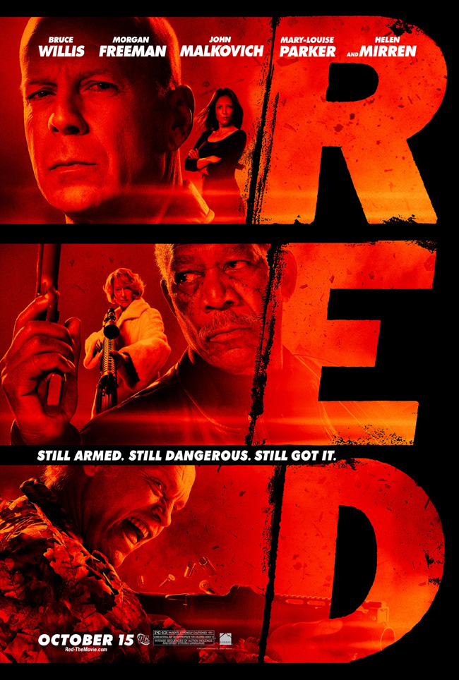 The movie poster for Red with Bruce Willis, Morgan Freeman, John Malkovich, Helen Mirren and Mary-Louise Parker