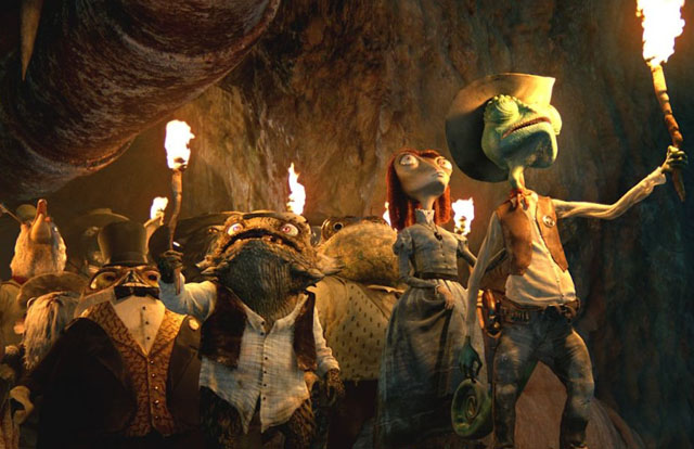 The Sheriff Leads the Town Folk in a Quest for Water in 'Rango'