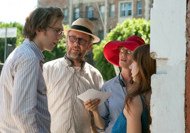 Actor Paul Dano, directors Jonathan Dayton and Valerie Faris and writer/actress Zoe Kazan on the set of Ruby Sparks.