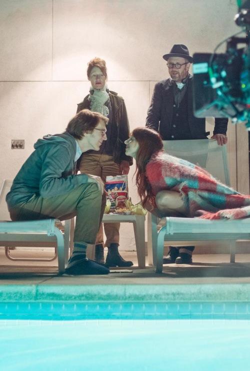Actor Paul Dano, director Valerie Faris, writer/actress Zoe Kazan and director Jonathan Dayton on the set of Ruby Sparks.