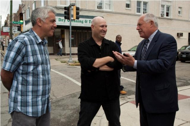 Director Adam Arkin, Shawn Ryan, and Governor Pat Quinn on the set of The Chicago Code