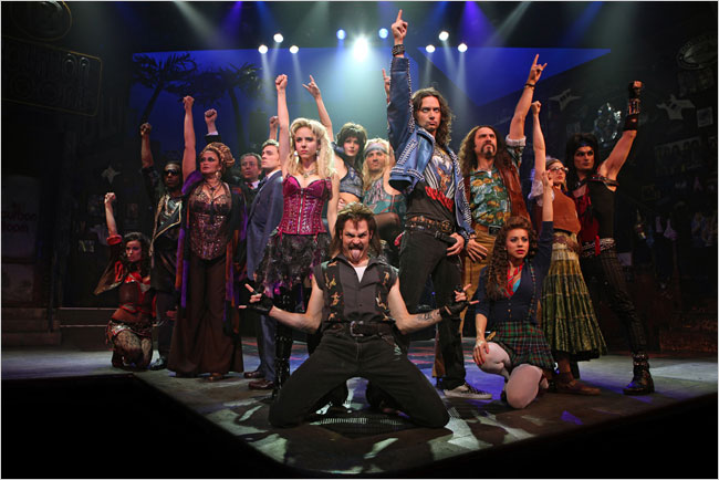 "The cast of ""Rock of Ages""."" target="