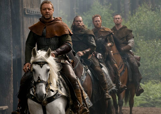 Making Merry: Russell Crowe, Alan Doyle, Scott Grimes and Kevin Durand in 'Robin Hood'