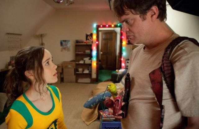 Ellen Page (Boltie) and Rainn Wilson (The Crimson Bolt) in 'Super'