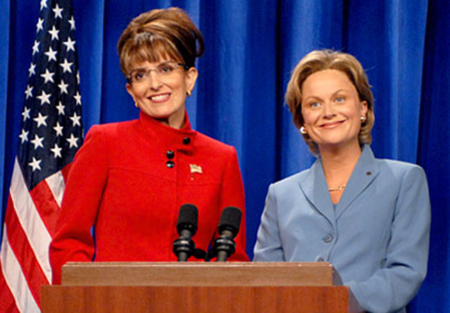 Tina Fey as Sarah Palin and Amy Poehler as Hillary Clinton in 'Saturday Night Live in the 2000s: Time and Again,'