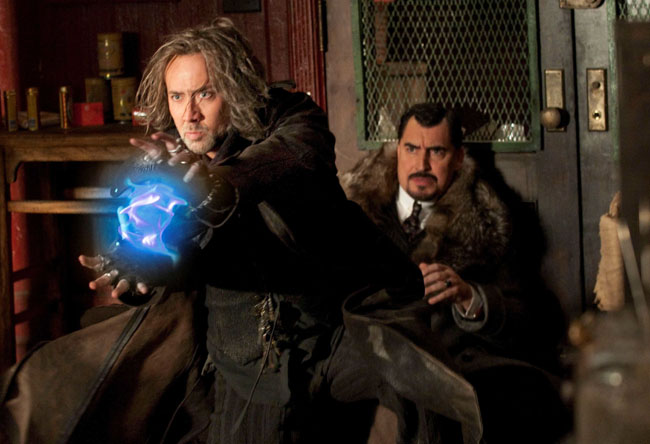 Good vs. Evil: Nicolas Cage as Balthazar and Alfred Molina as Horvath in 'The Sorcerer's Apprentice'