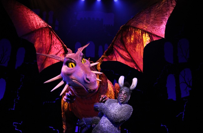 "Donkey (Alan Mingo, Jr.) gets an unwelcome seduction in ""Shrek the Musical""."" target="