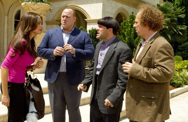 The Boys (Will Sasso, Chris Diamantopolous and Sean Hayes) Encounter Sonia Vergara (Lydia) in 'The Three Stooges'
