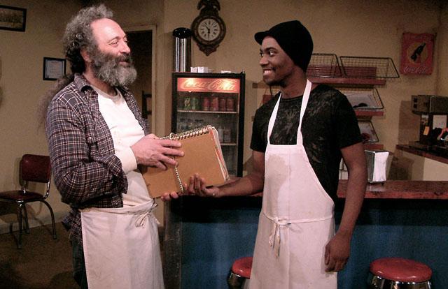 Richard Cotovsky (Arthur) and Preston Tate Jr. (Franco) in 'Superior Donuts'