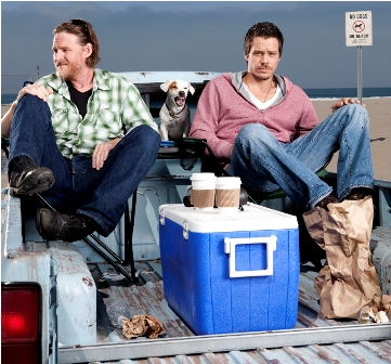L-R: Donal Logue as Hank Dolworth and Michael Raymond-James as Britt Pollack in TERRIERS premiering on FX.