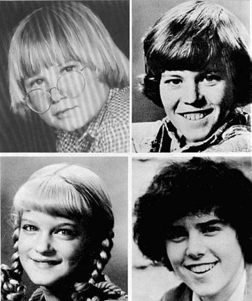 The Brady's They Were: Clockwise from upper left, Robbie Rist (Cousin Oliver), Mike Lookinland (Bobby), Susan Olsen (Cindy) and Christopher Knight (Peter)