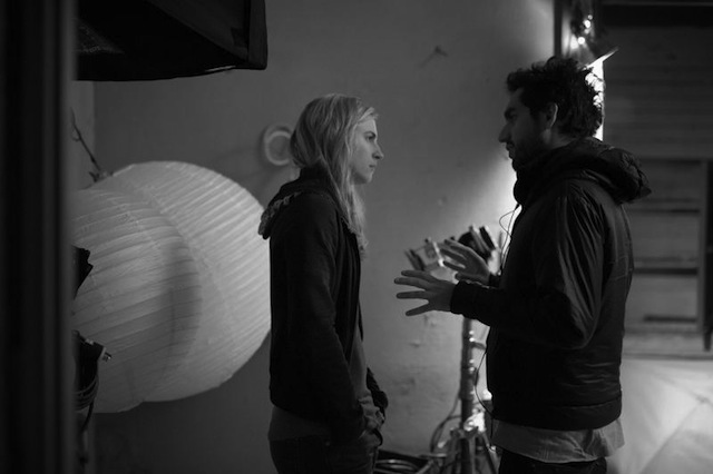 Brit Marling and Zal Batmanglij on the set of The East.