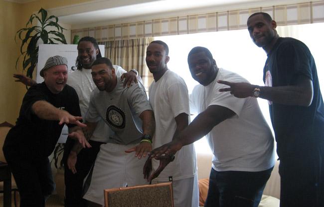 DEE-fense: Patrick McDonald, Willie McGee, Romeo Travis, Dru Joyce III, Sian Cotton and LeBron James in Chicago, Illinois, on August 11, 2009.
