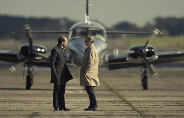 David Dencik (left) as Esterhase and Gary Oldman as George Smiley in 'Tinker, Tailor, Soldier, Spy'